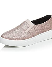 ZQ Zapatos de mujer - Tac¨®n Plano - Comfort / Punta Redonda / Punta Cerrada - Planos - Casual - Semicuero - Negro / Rosa / Gris / Beige , beige-us8.5 / eu39 / uk6.5 / cn40 , beige-us8.5 / eu39 / uk6.5 / cn40