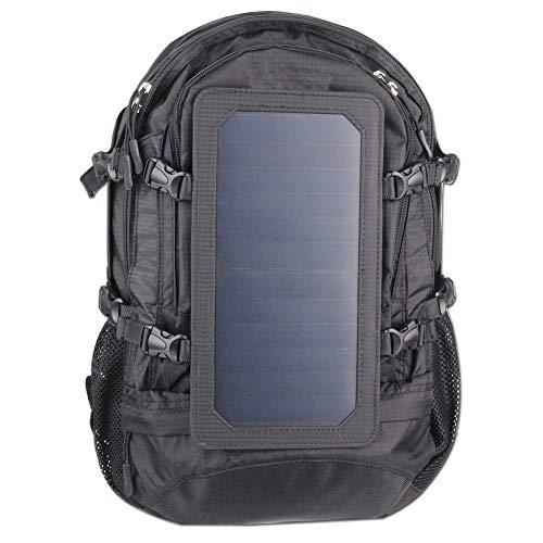 Rucksack, Solar-Rucksack Reisen Wandern Camping Rucksack Outdoor-Sporttasche, 7 Wände Solar Panel Lade für intelligente Handys und Tablets, GPS, E-Reader, Bluetooth Lautsprecher, Gopro Cameras-Schwarz