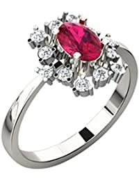 His & Her Gold, Solitaire And Ruby Ring For Women - B079ZK4TZ1