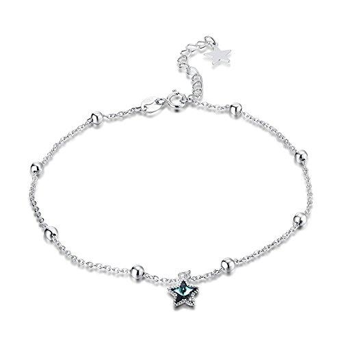 Rolicia donna s925 argento cristallo swarovski elementi blu stella moda cavigliera formato: 23 + 5 cm