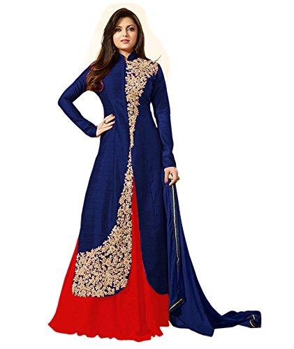 Jay Varudi Creation Women\'s Benglory Silk Dress Material Dress Material (Sohali Blue_Blue_Free Size)