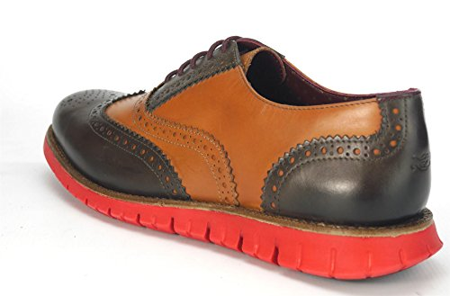 London Brogue richelieus Gatz Homme Oxford Mocassin Brown-Tan/Red Sole