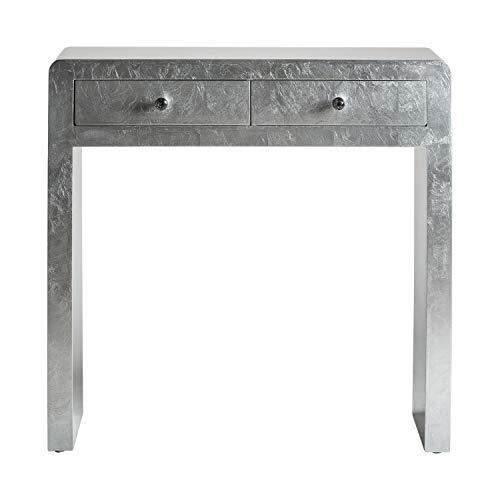 DECORHOME - Mueble Auxiliar - Recibidores Modernos - Consola Lidia Silver Plata 2 cajones (80x32x80)