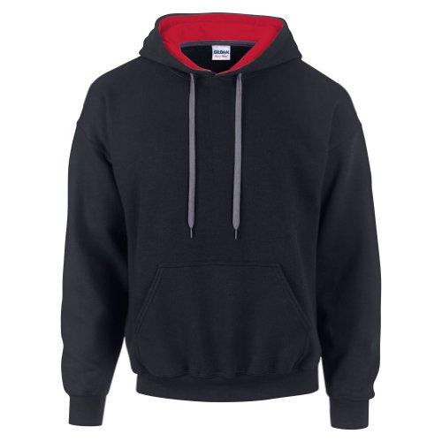 Gildan Heavy Blend Contrast Kapuzenpullover (2XL) (Schwarz/Rot) XXL,Schwarz/Rot (Graue Pullover Blend)
