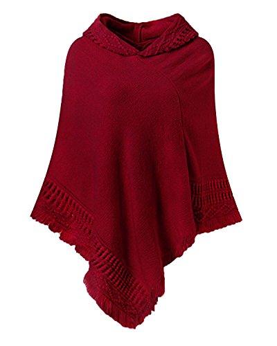 SUNNYME Damen Strick Poncho Cape Überwurf V-Ausschnitt Batwing Crochet Hoodie Strickjacken Weinrot One Size