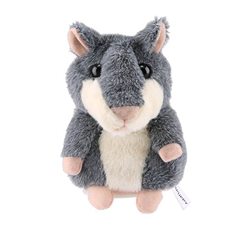 APUPPY Cute Mimicry Pet Talking Hamster Repeats What You Say Plush Animal Toy Electronic Hamster Mouse for Children/Toy Gifts Birthday Gifts, 3 x 5.7 inches (Gray)