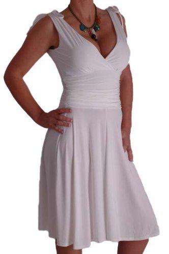 EyeCatchClothing - Sasha verführerisches Kleid in griechischem Style Weiss Gr. 10 UK / 38 EU