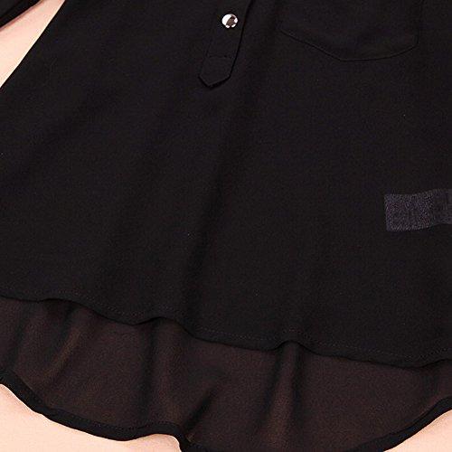 Camicia Camicetta Di Chiffon Allentato Di Colore Solido Donne Maniche Lunghe Cime Tasto V-Collo Nero