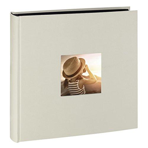 Hama Jumbo Fotoalbum Fine Art (30 x 30 cm, 100 schwarze Seiten, 50 Blatt, Fotobuch mit Ausschnitt für Bildeinschub) Album kreide