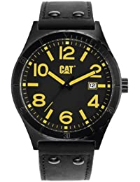 CAT Camden 43MM Men's Quartz Watch with Black Dial Analogue Display and Black Leather Strap NI.261.37.137