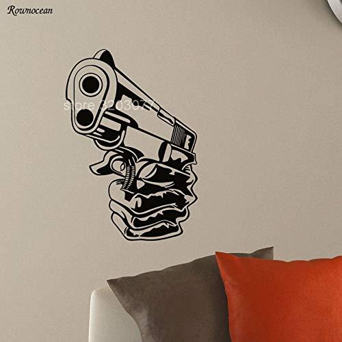 guijiumai Tir Arme à feu Arme de Poing Arme Militaire Armes à feu Vinyle Art Home Decor Sticker Mural Autocollant Amovible Maison peintures murales Papier Peint Blanc 85x123 cm