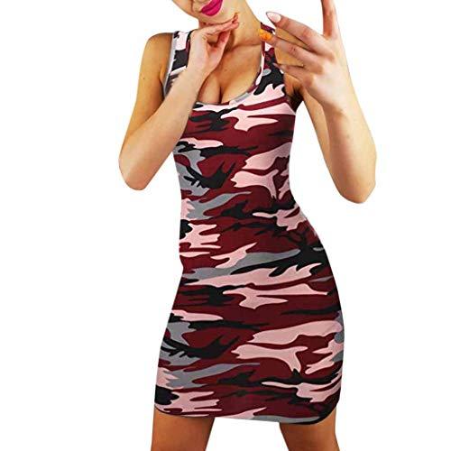 LANTOVI Women Dress Damen ärmelloses figurbetontes Minikleid, Lady Summer Bandage Camouflage Print Warp Sexy Slim Abend Party Kleider Large rot -