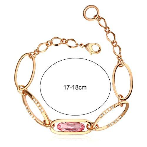 Aooaz Femme Bracelet, Ovale AAA Zircone Cubique Cristal CZ Bracelet Deux Ton Rose