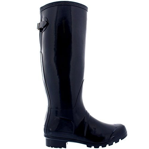 Damen Adjustable Back Tall Gloss Regen Wellies Gummistiefel Stiefel Marine Original