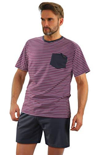Sesto Senso® Pyjama Herren Kurz Schlafanzüge 100{7fd32641dc4f6e4a8161ddd7fd4c2572cc9f5109a488b18c822fc87e8e0e680d} Baumwolle Kurzarm und Kurze Hose Zweiteiliger Set Nachtwäsche (M, 05 K67E)