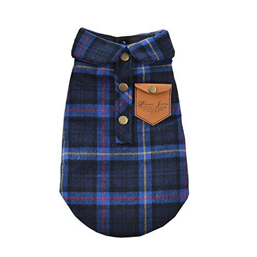 BBEART Haustier Kleidung, England Plaid Double Layer Flanell T-Shirt Herbst Winter Warm Hund Kleidung für Kleine Oder Mittlere Pet Hunde Kleidung Chihuahua Yorkshire Pudel Bekleidung Kostüme, M, Blau