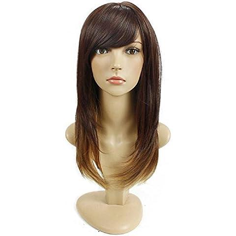 Meydlee Parrucche Parrucche di capelli colore sfumato opaco lunghi capelli lisci con frangia Slant