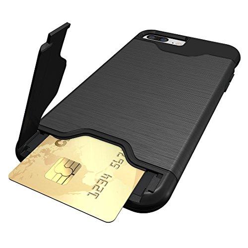 iPhone Case Cover Pour iPhone 7 Plus texture brossée TPU séparable + affaire PC Combinaison arrière avec slot pour carte et support ( Color : Rose gold ) Black