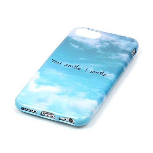 Per iPhone 7, Sunrive Cover Case Custodia in molle Ultra Sottile morbido TPU silicone Morbida Flessibile Pelle Antigraffio protettiva(inglese) cielo