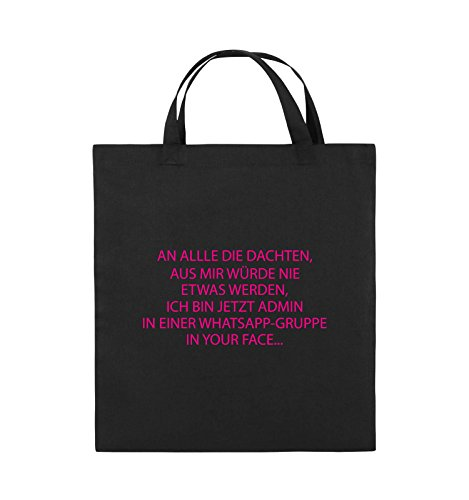 Comedy Bags - ADMIN WHATSAPP GRUPPE - Jutebeutel - kurze Henkel - 38x42cm - Farbe: Schwarz / Silber Schwarz / Pink