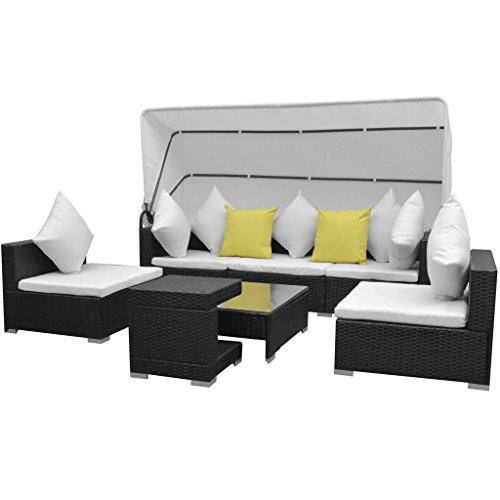 Festnight 23-TLG. Lounge Set Loungemöbel Loungeset Loungegruppe mit Sonnendach Poly Rattan Schwarz