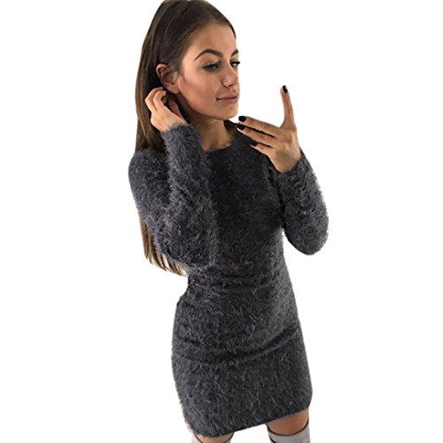Pelzig Vlies Warm Basic Kurz Mini Kleid HARRYSTORE Damen Winter Lange Ärmel Solide Pullover Kleid (Grau, S) (Kleider, Pullover, Stiefel)