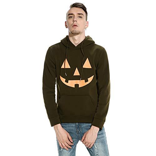 pullover Hoodie Pullover mit Kapuze Halloween Teufel Kürbis Gesicht Drucken (Kürbis Armee Grün, S) ()