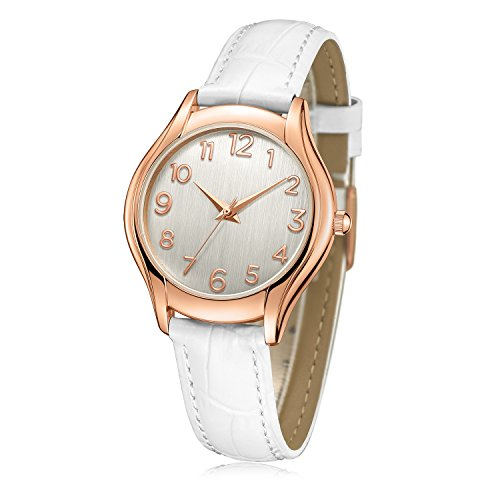 Montre-bracelet pour femme, Chiffre arabe Or Rose Simple Business Mode Casual Analogique Classique (Quartz) Montres Avec Bracelet en cuir véritable C74614 (Blanc)