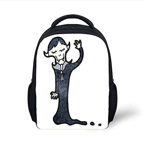 Vampire,Retro Cartoon Old Character Silly Spooky Funny Doodle Grunge Hand Drawn Decorative,Bluegrey Black White Plain Bookbag Travel Daypack ()