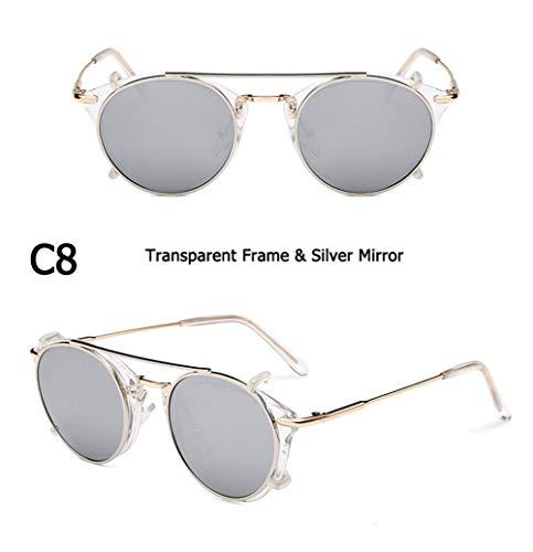 Mode SteamPunk-Stil Objektiv Abnehmbare Coole Sonnenbrille Clip Auf Vintage Brand Design Sonnenbrille Oculos De Sol (Lenses Color : C8)