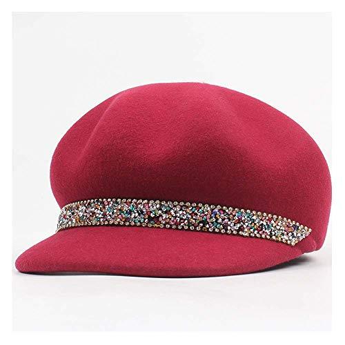 ZHENGYIXIA HAT Für Damenhüte 100% Wolle Frauen Filz Fedoras Hüte Dame Reitsport Baskenmütze Hut Mütze Strass Octangular Caps Hut (Farbe : Weinrot, Größe : 56-58cm)