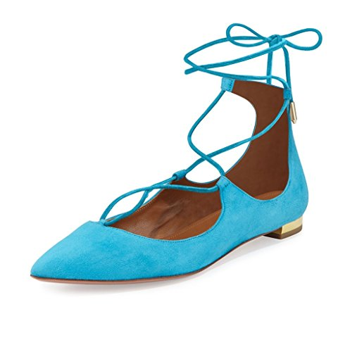 EDEFS Femmes Artisan Fashion Ballerines Décontracté Pointus Lanières Croisées Cheville En Lacets Des Couleurs Des Couleurs Chaussures Plates Gris Brillant Bleu Suède