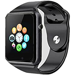 Bluetooth Smartwatch,Smart Watch Unlocked Watch Phone can Call and Text with TouchScreen Camera Notification Sync for Android SumSung Huawei and IOS iPhone 7 8 X(Black)