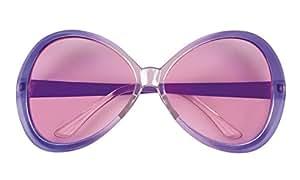 Faschingsfete oversize Retro Hippie Brille Kostüm Sonnenbrille, Hellblau