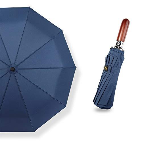 XW Taschenschirm mit Auf-Zu-Automatik, klein,leicht & kompakt,Teflon-Beschichtung,windsicher, stabilMassivholzgriff dreifach Automatikschirm blau 105cm -
