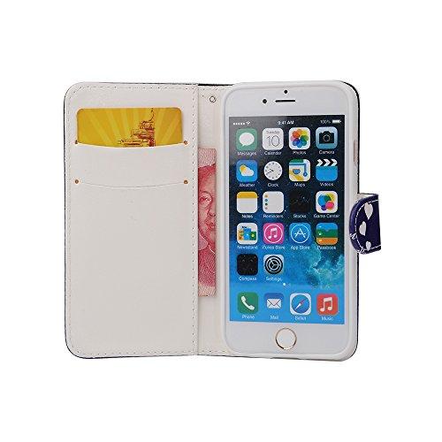 """Etche iPhone 6S/iPhone 6 4.7"""" Flip Cover Hülle, iPhone 6S/iPhone 6 4.7"""" PU Leder wallet Schutzhülle, niedlich bunt kreativ Mond Pfeil muster Handytasche Handyhülle Etui Tasche mit Standfunktion Kredit Mond Liebe"""