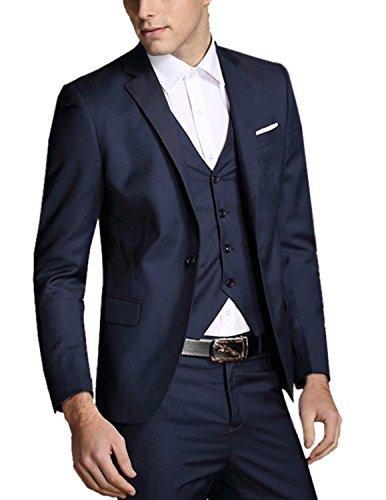 Boom Fashion Hommes Plaid Veste de Costume 3 Pièces Uniforme Suit Ronde Châle Tuxedo Dîner Mariage Prom Party Blazer+Gilet+Pantalons Bleu