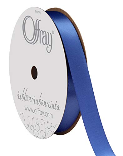 Zipperstop Offray Double Face Satin Craft Ribbon, 5/8-Inch Wide by 20-Yard Spool, Royal -
