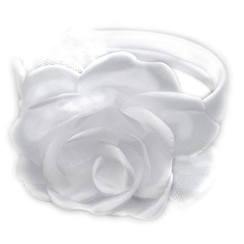 Haarband für Kinder Haarreif Kommunion Haarschmuck weiß mit großer Blume breit OW-076