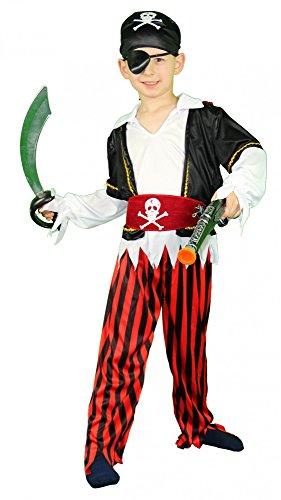 Foxxeo Piraten Kinderkostüm für Jungen Pirat Kostüm zu Fasching und Karneval, Größe 86-92