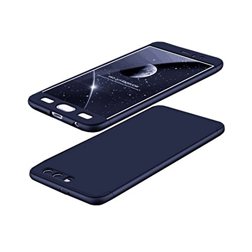 Huawei Honor 9 Hülle Hardcase 3 in 1 Handyhülle Ultra Dünn Hartschale 360 Grad Full Body Schutz Handytasche Backcover Schutzhülle Anti-Kratzer Elegant Stoßfest Hart PC Skin Rückdeckel Glatte Bumper - Blau (Gehäuse Libelle-pen)