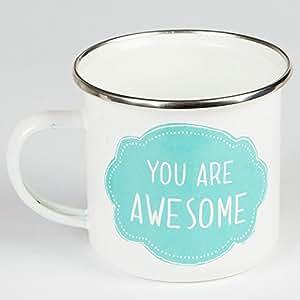 Mug en métal émaillé Motif You Are Awesome Idéal pour glamping, camping, extérieur et jardinage.