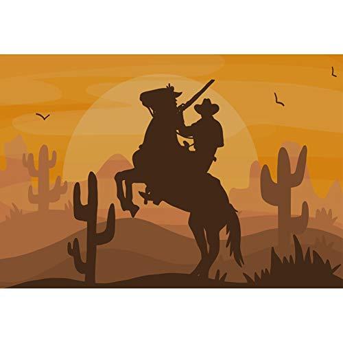 View Hintergrund Hügel Kaktus Cowboy Pferd Kopfgeldjäger Sonnenuntergang Fotografie Hintergrund Party Menschen Porträt Party Banner Dekor Produkt Requisiten ()