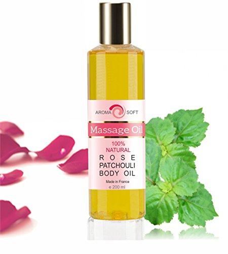 Huile de Massage de Raisin Arôme Rose & Patchouli 200 ml Relaxation et après le bain