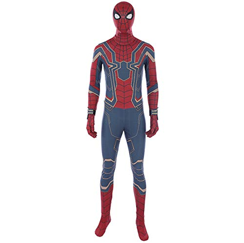 QWEASZER Halloween Cosplay Verrücktes Kleid Party Kostüm Marvel Avengers 3 Iron Spider-Man Kampf Engen Body Anime Film Bühne Performance Onesies,Spiderman-S (Spiderman Kostüm Kämpfen)