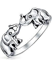 Bling Jewelry Joyería de Plata Esterlina Antiqued Bling suerte elefantes doble anillo Animal