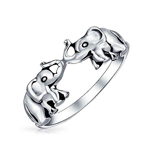 Buena suerte Zoo Animal dos elefantes Anillo para mujeres adolescentes de la plata esterlina 925 oxidada