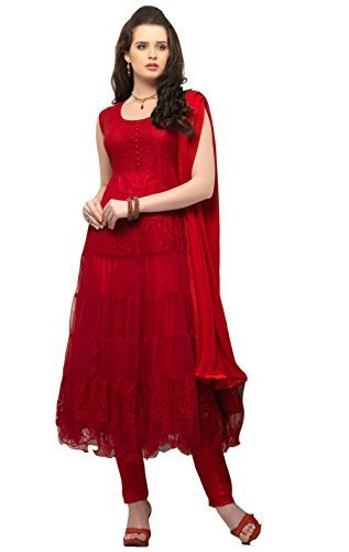 Clickedia Women Net Brasso Red Anarkali Suit- Dress Material  available at amazon for Rs.299