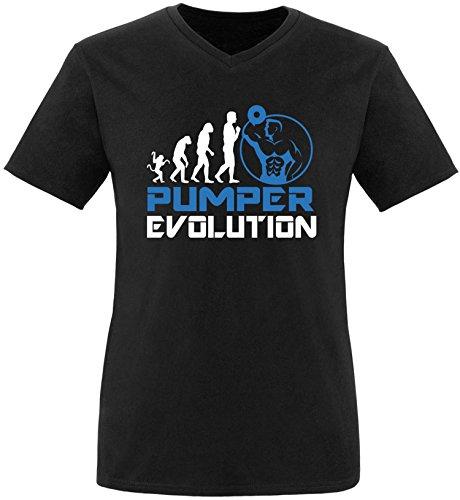 EZYshirt® Pumper Evolution Herren V-Neck T-Shirt Schwarz/Weiss/Blau