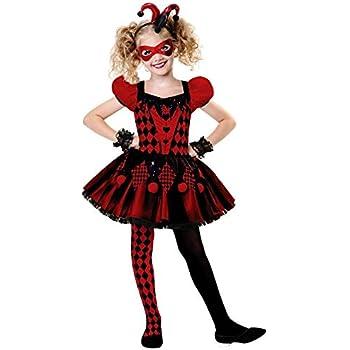 Crazy Girl Wig Red /& Black Clown Jester Halloween Ladies Fancy Dress Costume
